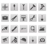 Equipa iconos en cuadrados grises Imagenes de archivo