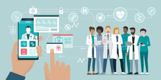 Equipa médica e cuidados médicos app ilustração royalty free