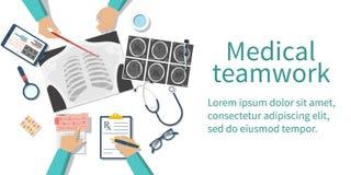A equipa médica medica o desktop ilustração do vetor