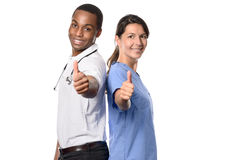Equipa médica multi-étnico bem sucedida entusiástica imagem de stock royalty free