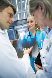 Equipa médica que discute sobre o relatório do raio X no corredor Fotos de Stock