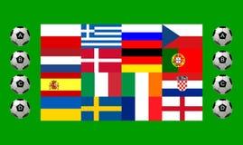 A equipa nacional embandeira o campeonato europeu do futebol Fotos de Stock