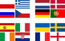 A equipa nacional embandeira o campeonato europeu do futebol Fotografia de Stock