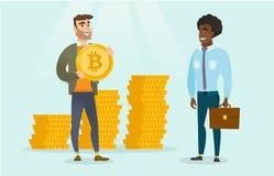 Equipaggi chiedere all'investitore i bitcoins per la sua partenza Immagini Stock Libere da Diritti