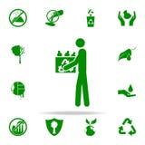 equipaggi con l'icona usata di verde di bottiglie insieme universale delle icone di Greenpeace per il web ed il cellulare illustrazione di stock