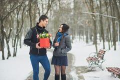 Equipaggi giudicare il contenitore di regalo rosso con il bello mazzo di fioritura tulipani rosa, gialli e bianchi e crisantemi b immagini stock libere da diritti