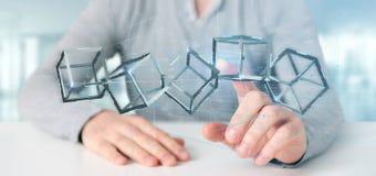 Equipaggi giudicare un cubo del blockchain della rappresentazione 3d isolato su un backgro Immagini Stock