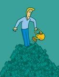 Equipaggi i lotti d'innaffiatura e crescenti dei soldi di affari Fotografie Stock Libere da Diritti