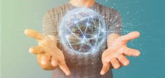 Equipaggi il collegamento della tenuta intorno ad un renderin del globo 3d del mondo Fotografia Stock