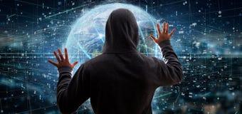 Equipaggi il collegamento della tenuta intorno ad un renderin isolato globo 3d del mondo Immagine Stock