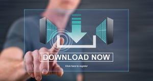 Equipaggi il contatto del concetto di download su un touch screen fotografia stock