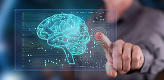 Equipaggi il contatto del concetto di intelligenza artificiale su un touch screen fotografia stock