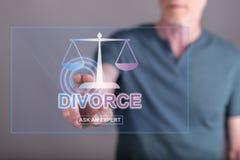 Equipaggi il contatto del sito Web online di consiglio di divorzio su un touch screen immagine stock