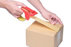 Equipaggi il contenitore di imballaggio della mano con nastro adesivo sulla scatola di cartone Immagini Stock Libere da Diritti
