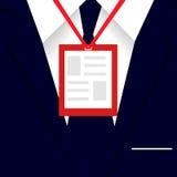 Equipaggi il costume con la carta in bianco bianca di identificazione della plastica dell'identificazione Vestito blu del ` s deg Immagini Stock Libere da Diritti