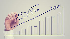 Equipaggi il disegno dell'istogramma aumentante datato per 2015 Fotografia Stock