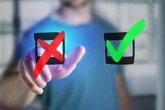 Equipaggi il dito che tocca un'icona rossa e verde disegnata a mano del segno di spunta su un fu Fotografia Stock