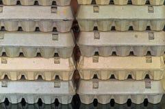 Equipaggi il fronte che si nasconde dietro delle scatole delle uova sistemate Fotografia Stock Libera da Diritti