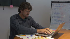 Equipaggi il lavoro tardi, sedendosi le emozioni della negazione delle carte di computer portatile della scrivania stock footage