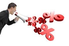 Equipaggi il megafono della tenuta con i segni di percentuale che spruzzano fuori Immagini Stock