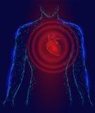 Equipaggi il modello di malattia della medicina dei battiti cardiaci 3d della siluetta in basso poli Fondo blu rosso del punto di Fotografia Stock