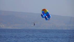 Equipaggi il volo su un paracadute speciale sopra il mare stock footage
