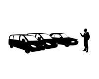 Equipaggi l'acquisto dell'automobile nuova Fotografia Stock Libera da Diritti