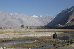 Equipaggi l'esame della vista della valle di Nubra fotografia stock