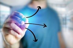 Equipaggi l'icona su un'interfaccia futuristica - technol delle frecce del disegno della mano Fotografia Stock Libera da Diritti