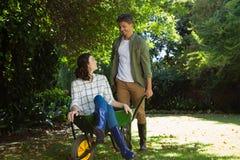 Equipaggi l'interazione con la donna mentre spingono la carriola in giardino Immagine Stock