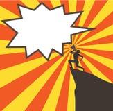 Equipaggi l'urlo in un megafono su una roccia Immagini Stock