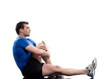 Equipaggi l'yoga Marichyasana di posizione di Worrkout che allunga il postur di allenamento Fotografia Stock
