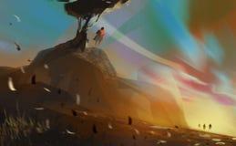 Equipaggi la condizione sulla collina sotto un grande albero nel tramonto, illustr digitale illustrazione di stock