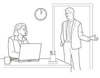 Equipaggi la conversazione con una donna su all'ufficio Illustrazione nera isolata su fondo bianco Immagini Stock Libere da Diritti