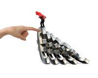 Equipaggi la freccia di trasporto su che equilibra il helpin euro di caduta della mano di simboli Immagine Stock Libera da Diritti