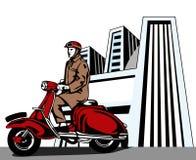 Equipaggi la guida del motorino Immagine Stock Libera da Diritti