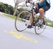 Equipaggi la guida della bicicletta nel parco, fuoco selettivo Fotografia Stock