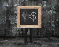 Equipaggi la lavagna della tenuta con il concetto uguale dei soldi di idee disegnate a mano Immagini Stock Libere da Diritti
