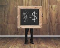 Equipaggi la lavagna della tenuta con il concetto uguale dei soldi di idee disegnate a mano Fotografia Stock