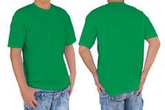 Equipaggi la maglietta verde in bianco d'uso con il percorso, la parte anteriore e la b di ritaglio Immagine Stock Libera da Diritti