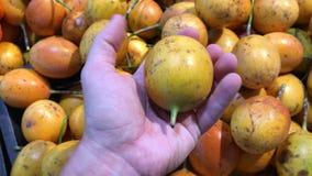 Equipaggi la mano che seleziona il frutto della passione esotico organico fresco nel supermercato Asia Meridionale, Indonesia, Ba archivi video