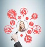 Equipaggi la mano del ` s, la donna e le icone di affari Fotografie Stock Libere da Diritti