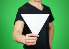 Equipaggi la mostra del libretto triangolare bianco in bianco dell'opuscolo dell'aletta di filatoio Leafl Fotografia Stock Libera da Diritti