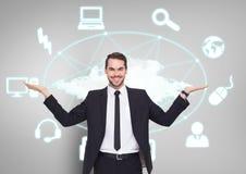 Equipaggi la scelta o la decisione con le icone della tecnologia collegate la rete aperta delle mani delle palme Immagine Stock