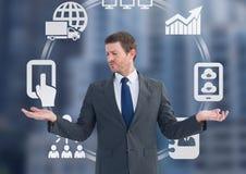 Equipaggi la scelta o le icone decidenti di affari spingono con le mani aperte della palma Fotografia Stock
