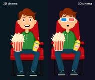 Equipaggi la seduta nel cinema e la sorveglianza un film, un 2D e del cinema 3D Fotografia Stock