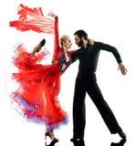 Equipaggi la siluetta di dancing del ballerino della salsa di tango della sala da ballo delle coppie della donna Fotografie Stock Libere da Diritti