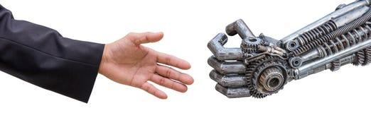 equipaggi la stretta di mano della mano con il robot dei CY-ber isolato su bianco Immagine Stock