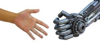 Equipaggi la stretta di mano della mano con il robot dei CY-ber isolato sul backgrou bianco Fotografia Stock