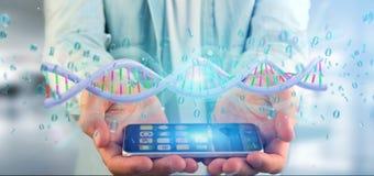 Equipaggi la tenuta del DNA codificato dati della rappresentazione 3d con il aroun del file binario Immagini Stock Libere da Diritti
